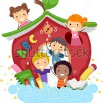 illustration-of-kids-playing-in-an-apple-shaped-school_81677959