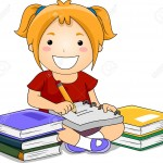 18146319-Illustration-of-Kid-Girl-Writing-notes-with-books-on-her-side-Stock-Illustration