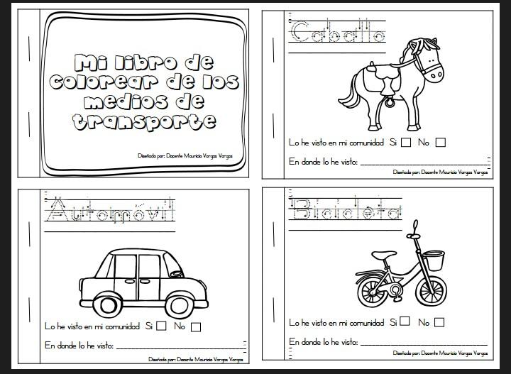 Libro para colorear de los medios de transporte | Material Didáctico ...