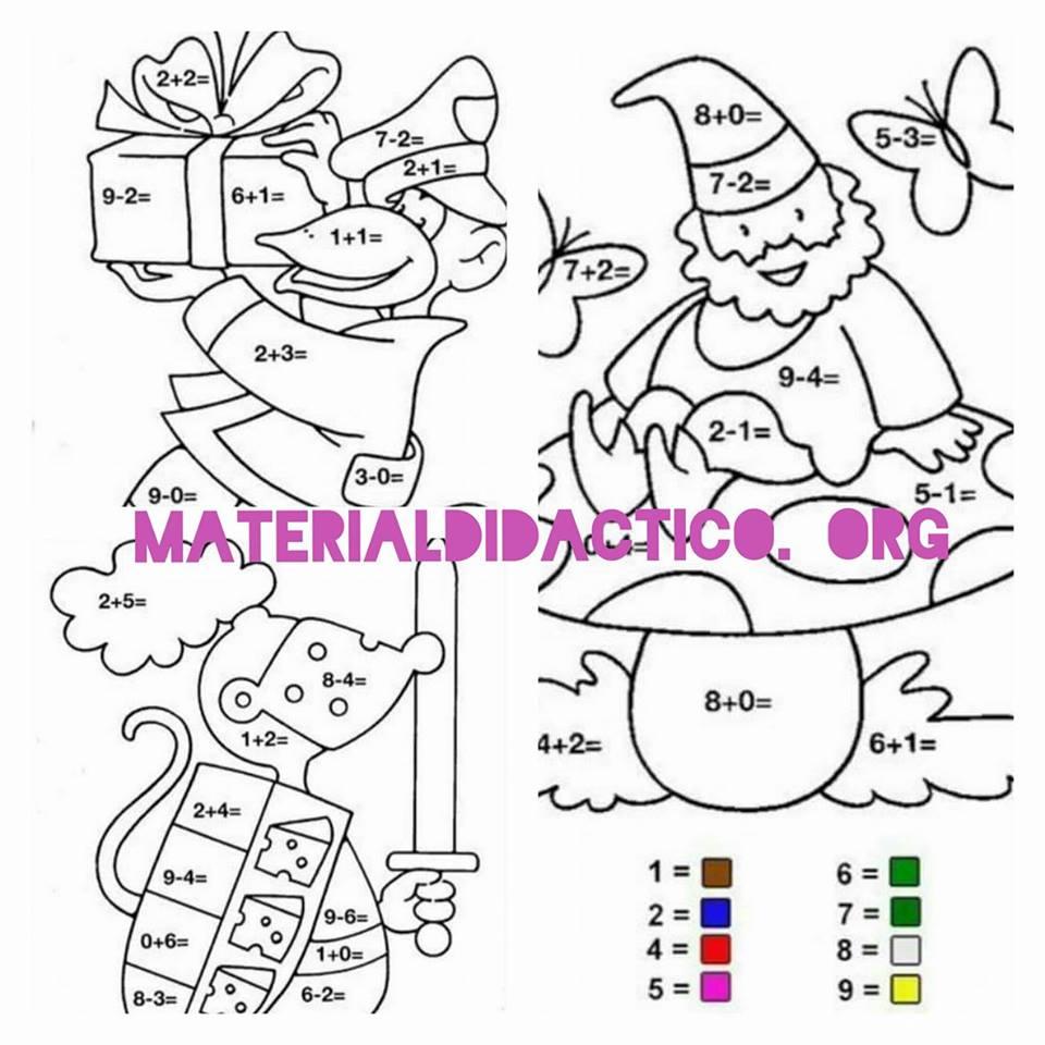 Dibujos para colorear - suma o resta | Material Didáctico y Planeaciones