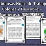 Fabulosas Hojas de Trabajo Colorea y Descubre – Números del 201 al 300