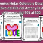 Excelentes Hojas Colorea y Descubre con Motivo del Día del Amor y la Amistad – Números del 201 al 300