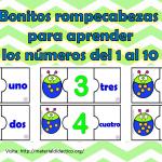 Bonitos rompecabezas para aprender los números del 1 al 10