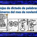 Hojas de dictado de palabras o números del mes de noviembre