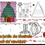 Lindas tarjetas de duende y árbol de navidad