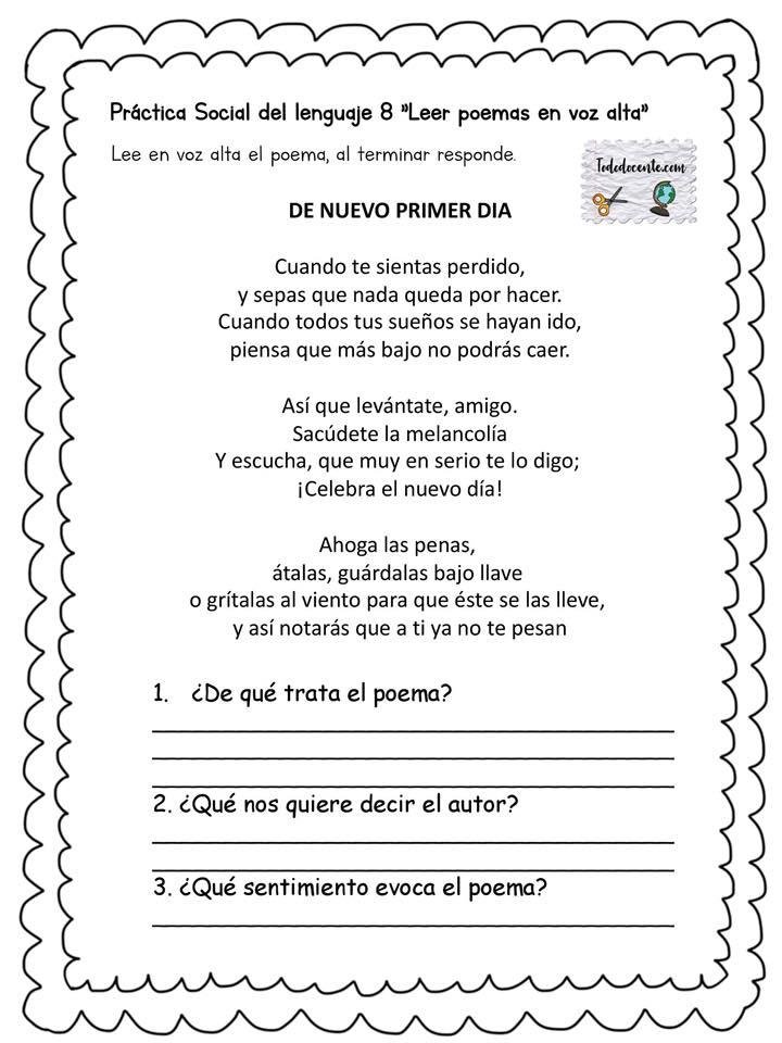 Excelentes ejercicios para el tema Leer poemas en voz alta del ...