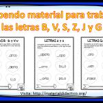 Estupendo material para trabajar las letras B, V, S, Z, J y G