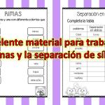 Excelente material para trabajar las rimas y la separación de sílabas