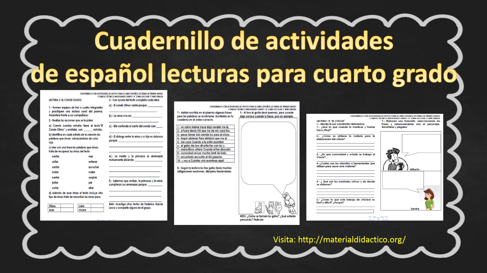 Cuadernillo de actividades de español lecturas para cuarto grado ...