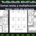 Rompecabezas de sumas, restas y multiplicaciones sobre Benito Juárez – Tercer Ciclo de primaria