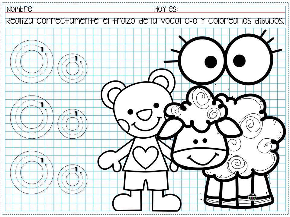 Traza la vocal y colorea los dibujos para preescolar y ...