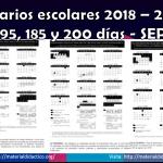 Calendarios escolares 2018 – 2019 de 195, 185 y 200 días – SEP
