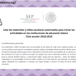 Lista de materiales y útiles escolares autorizados para la educación básica ciclo escolar 2018-2019