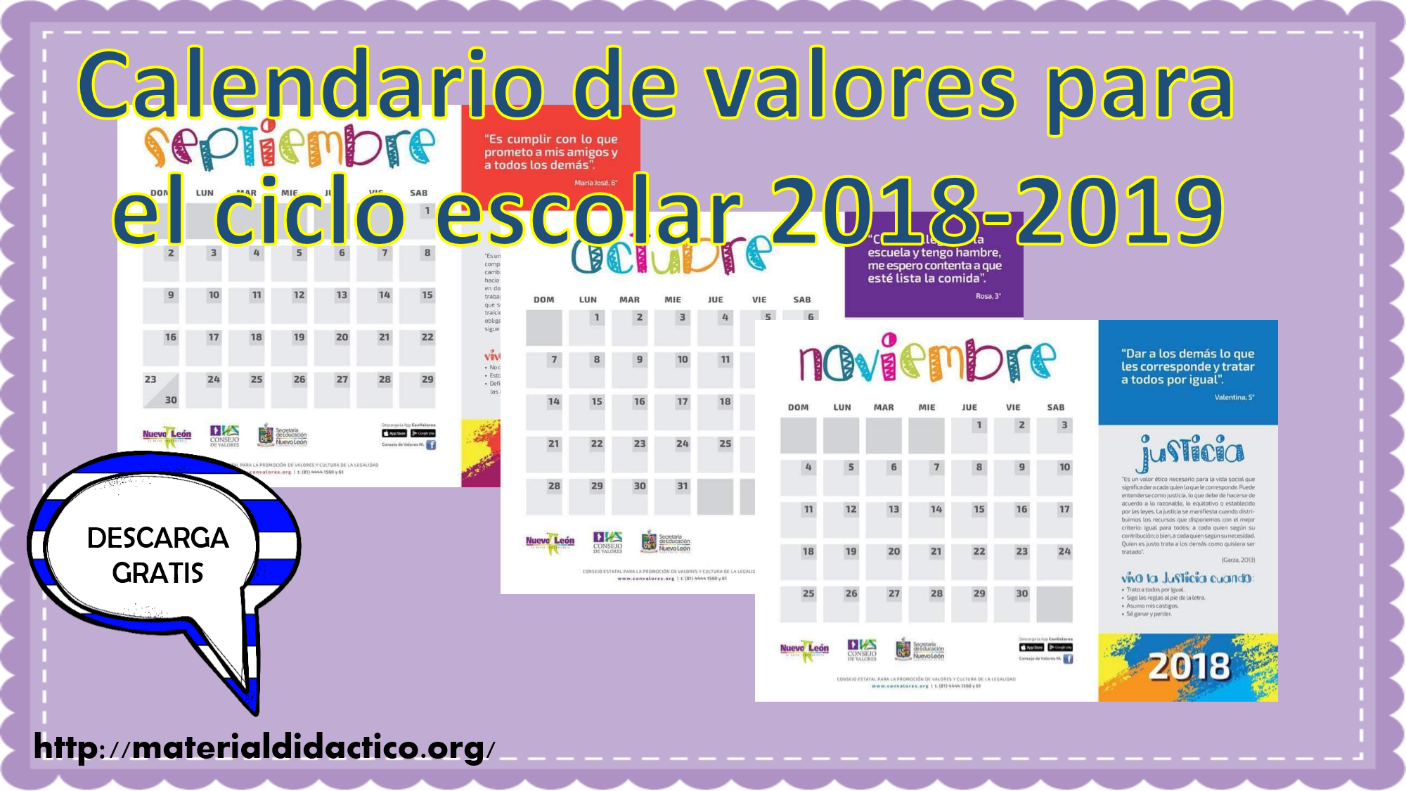 Calendario De Valores Para El Ciclo Escolar 2018 2019 Material