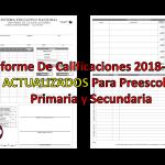 Informe De Calificaciones 2018-2019 ACTUALIZADOS Para Preescolar, Primaria y Secundaria