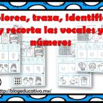 Colorea, traza, identifica y recorta las vocales y números