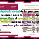 Calendario anual de los procesos de selección para la admisión, la promoción y el reconocimiento del sistema para la carrera de las maestras y los maestros 2020