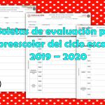 Boletas de evaluación para preescolar del ciclo escolar 2019 – 2020