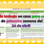 Plan de trabajo en casa para cuarto grado de primaria semana del 20 al 24 de abril