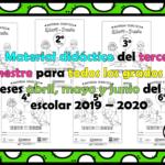 Material didáctico del tercer trimestre para todos los grados  de los meses abril, mayo y junio del ciclo escolar 2019 – 2020