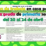 Plan de trabajo para el aprendizaje en casa del quinto grado de primaria semana del 20 al 24 de abril