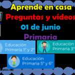 Aprende en casa preguntas y vídeos del 01 de junio para todos los grados de primaria
