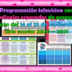 Programación televisiva con aprendizajes esperados de preescolar y primaria del 14 al 25 de septiembre del ciclo escolar 2020 – 2021