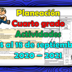 Planeación del cuarto grado con actividades del 14 al 18 de septiembre 2020 – 2021 de acuerdo a los aprendizajes esperados de la programación televisiva de Aprende en Casa II