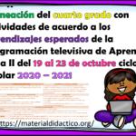 Excelente planeación del cuarto grado con actividades de acuerdo a los aprendizajes esperados de la programación televisiva de Aprende en Casa II del 19 al 23 de octubre ciclo escolar 2020 – 2021