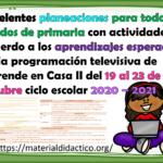 Excelentes planeaciones para todos los grados de primaria con actividades de acuerdo a los aprendizajes esperados de la programación televisiva de Aprende en Casa II del 19 al 23 de octubre ciclo escolar 2020 – 2021