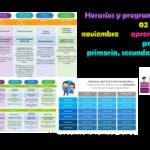 Horarios y programación de la semana del 02 al 06 de noviembre de aprende en casa II de educación preescolar, primaria, secundaria del ciclo escolar 2020 – 2021