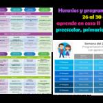 Horarios y programación de la semana del 26 al 30 de octubre de aprende en casa II de educación preescolar, primaria, secundaria del ciclo escolar 2020 – 2021