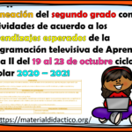 Excelente planeación del segundo grado con actividades de acuerdo a los aprendizajes esperados de la programación televisiva de Aprende en Casa II del 19 al 23 de octubre ciclo escolar 2020 – 2021