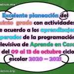 Excelente planeación del quinto grado con actividades de acuerdo a los aprendizajes esperados de la programación televisiva de Aprende en Casa II del 09 al 13 de noviembre ciclo escolar 2020 – 2021