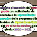 Excelente planeación del sexto grado con actividades de acuerdo a los aprendizajes esperados de la programación televisiva de Aprende en Casa II del 09 al 13 de noviembre ciclo escolar 2020 – 2021