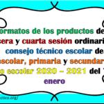 Formatos de los productos de la tercera y cuarta sesión ordinaria del consejo técnico escolar de preescolar, primaria y secundaria del ciclo escolar 2020 – 2021 del 7 y 8 enero