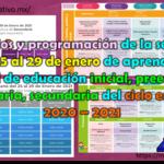 Horarios y programación de la semana del 25 al 29 de enero de aprende en casa II de educación inicial, preescolar, primaria, secundaria del ciclo escolar 2020 – 2021
