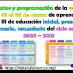 Horarios y programación de la semana del 01 al 05 de marzo de aprende en casa III de educación inicial, preescolar, primaria, secundaria del ciclo escolar 2020 – 2021