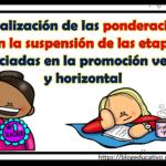 Actualización de las ponderaciones con la suspensión de las etapas anunciadas en la promoción vertical y horizontal
