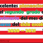 Excelentes planeaciones del segundo grado de primaria del mes de marzo del ciclo escolar 2020 – 2021