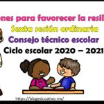 Acciones para favorecer la resiliencia para la sexta sesión ordinaria del consejo técnico escolar del ciclo escolar 2020 – 2021