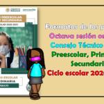 Formatos de los productos de la octava sesión ordinaria del consejo técnico escolar de preescolar, primaria y secundaria del ciclo escolar 2020 – 2021